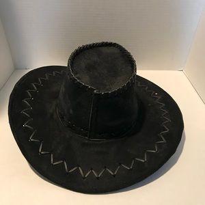 Vintage black leather cowboy style hat